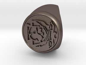 Custom Signet Ring 23 in Polished Bronzed Silver Steel