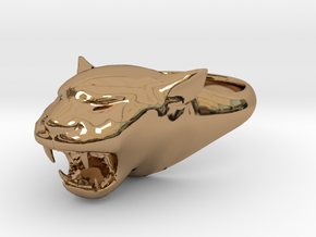 Cougar-Puma Ring , Mountain lion Ring Size 9  in Polished Brass
