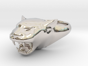 Cougar-Puma Ring , Mountain lion Ring Size 9  in Rhodium Plated Brass