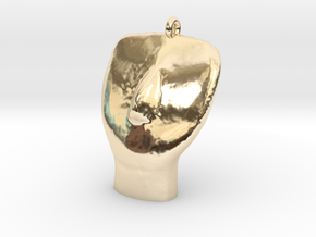 Cycladic Head Pendant in 14k Gold Plated Brass