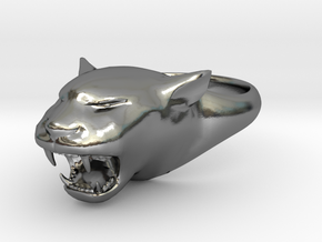 Cougar-Puma Ring , Mountain lion Ring Size 5 in Polished Silver
