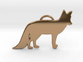 Standing Fox in Polished Brass