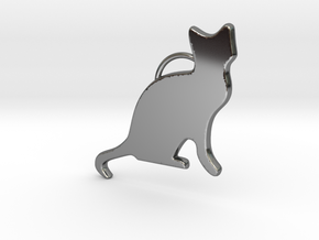 Cat Sitting in Fine Detail Polished Silver