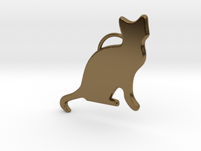 Cat Sitting in Polished Bronze