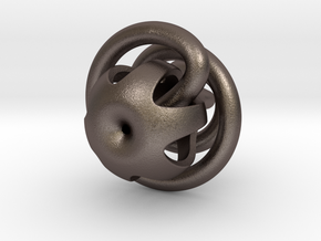 klein bottle - extra loop  in Polished Bronzed Silver Steel