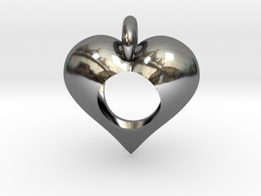 Hole in My Heart Pendant in Fine Detail Polished Silver