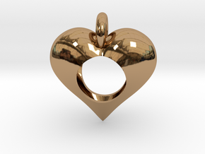 Hole in My Heart Pendant in Polished Brass