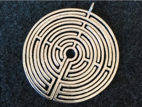 Labyrinth Pendant in Raw Silver