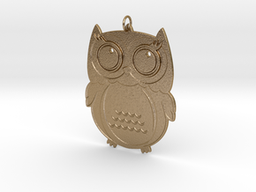 Owl in Polished Gold Steel