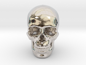 33mm 1.3in Human Skull (23mm/.9in wide) in Rhodium Plated Brass