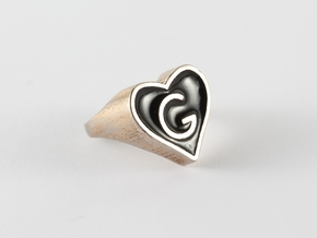 Heart in Polished Bronzed Silver Steel