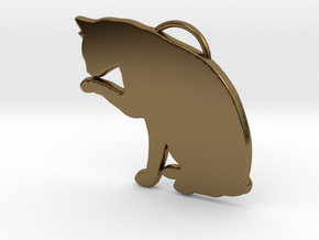 Cat Licking in Polished Bronze