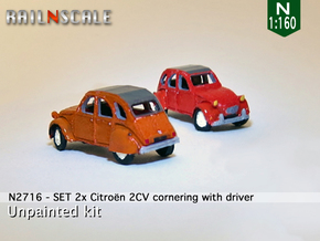 SET 2x Citroën 2CV - cornering (N 1:160) in Frosted Ultra Detail