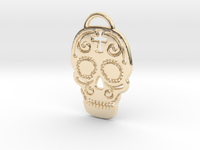 Skull with pattern in 14K Yellow Gold