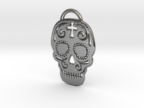 Skull with pattern in Fine Detail Polished Silver
