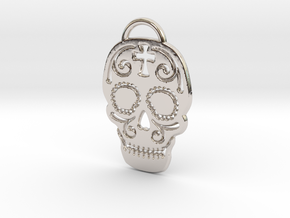 Skull with pattern in Rhodium Plated Brass
