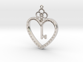 The Key To My Heart in Rhodium Plated Brass