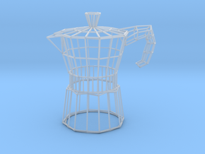 Moka Coffee Pot Wireframe in Smooth Fine Detail Plastic