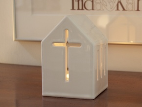 Lantern & Cross in Gloss White Porcelain