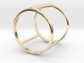 Model Double Ring B in 14k Gold Plated Brass