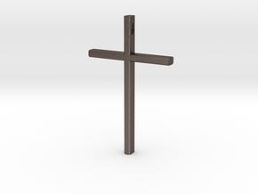 Cross in Polished Bronzed Silver Steel