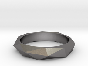 Geo Low Poly Ring Size 6.5-7 in Polished Nickel Steel