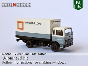Vierer-Club-LKW Koffer (N 1:160) in Smooth Fine Detail Plastic