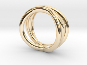 Three Orbits Entwined:Trinity UK size M (US 6 ¼) in 14K Yellow Gold
