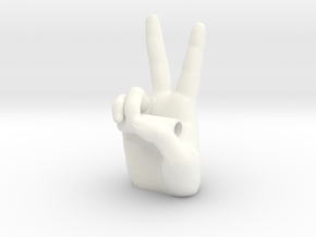 Peace Sign with Chain Tube in White Processed Versatile Plastic
