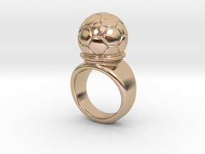 Soccer Ball Ring 21 - Italian Size 21 in 14k Rose Gold Plated Brass