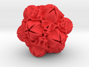 Floral 2 - D20 Large balanced gaming die in Red Processed Versatile Plastic
