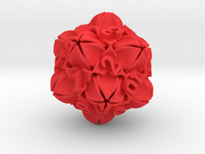 'Floral' D20 Spindown Life Counter - LARGE in Red Strong & Flexible Polished