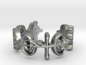 """Logical"" Vulcan Script Ring - Cut Style in Natural Silver: 7 / 54"