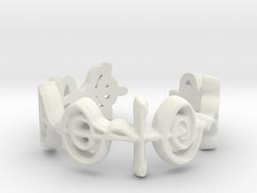 """Logical"" Vulcan Script Ring - Cut Style in White Natural Versatile Plastic: 7 / 54"