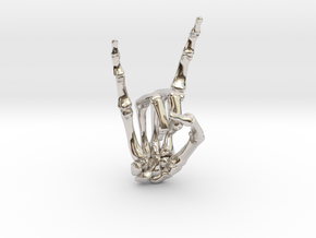 Devil Horns Right Hand in Rhodium Plated Brass