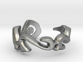"""Rata Tafar Tapan"" Vulcan Script Ring - Cut Style in Natural Silver: 7.5 / 55.5"