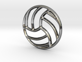 Volleyball Pendant/Charm - 16mm in Fine Detail Polished Silver