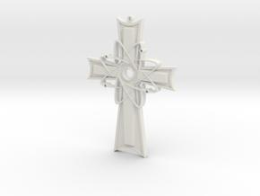 Atomic Cross Pendant (Beta) in White Natural Versatile Plastic