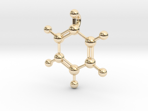 Benzene Pendant in 14k Gold Plated Brass