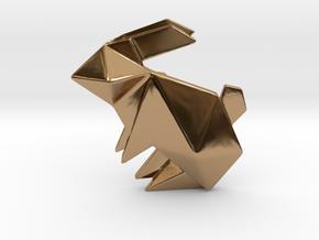 Origami Rabbit Pendant in Polished Brass
