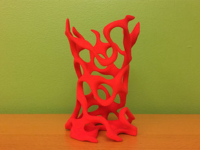 Gyroid Toothbrush Holder in Red Processed Versatile Plastic