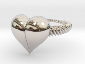 Size 11 Heart Ring in Rhodium Plated Brass