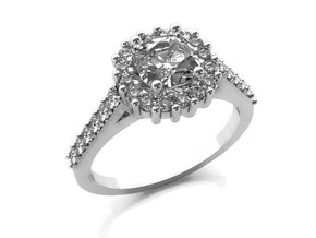 Cushion Halo Ring in 14k White Gold