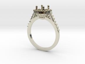 Custom Halo Engagement Ring in 14k White Gold