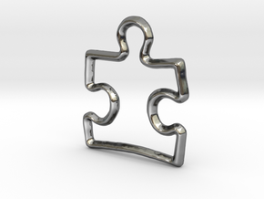 Puzzle Pendant/Charm - 16mm in Fine Detail Polished Silver