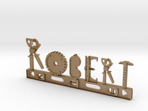 Robert Nametag in Matte Gold Steel