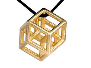 Hypercube Pendant in Polished Gold Steel: Medium