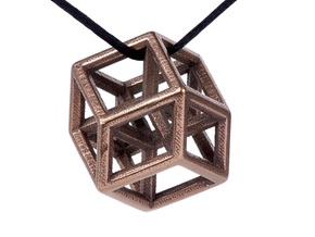 Hypercube Pendant in Polished Bronze Steel: Medium