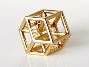 Hypercube Pendant in Polished Brass