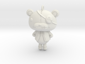 Keychain_Teddy in White Strong & Flexible